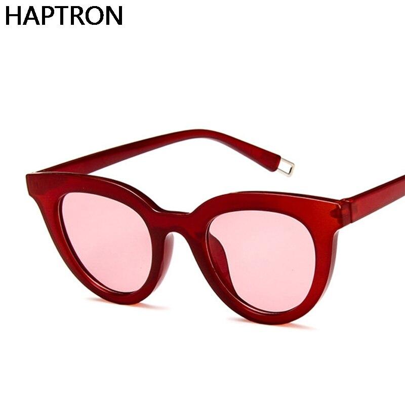 HAPTRON New Women Cat Eye Sunglasses black 2018 Vintage Men Fashion Brand Designer Red Shades cat Sun Glasses UV400