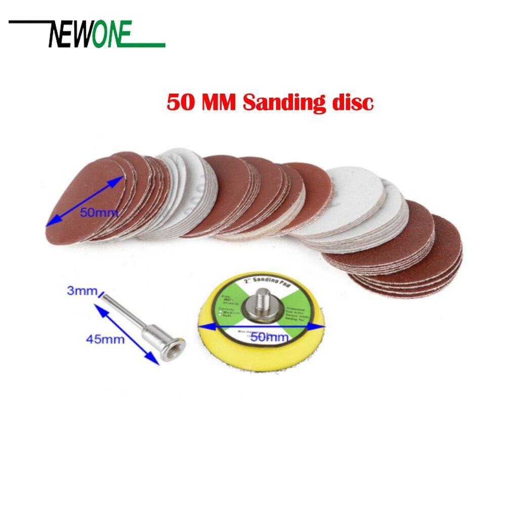 60 pces 2 disc 50mm lixa disco 100/240/600/800/1000/2000 grits + 50mm laço lixa almofada com 45x3mm shank mayitr