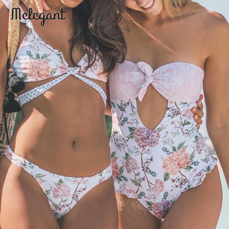 Melegant, Bikini sin tirantes 2019 para Mujer, traje de baño de una pieza ahuecado con lazo, Monokini estampado Floral para Mujer