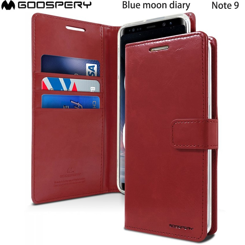 Original Mercury Goospery Luna Azul diario PU cuero imán Flip funda billetera para Samsung Galaxy Nota 9