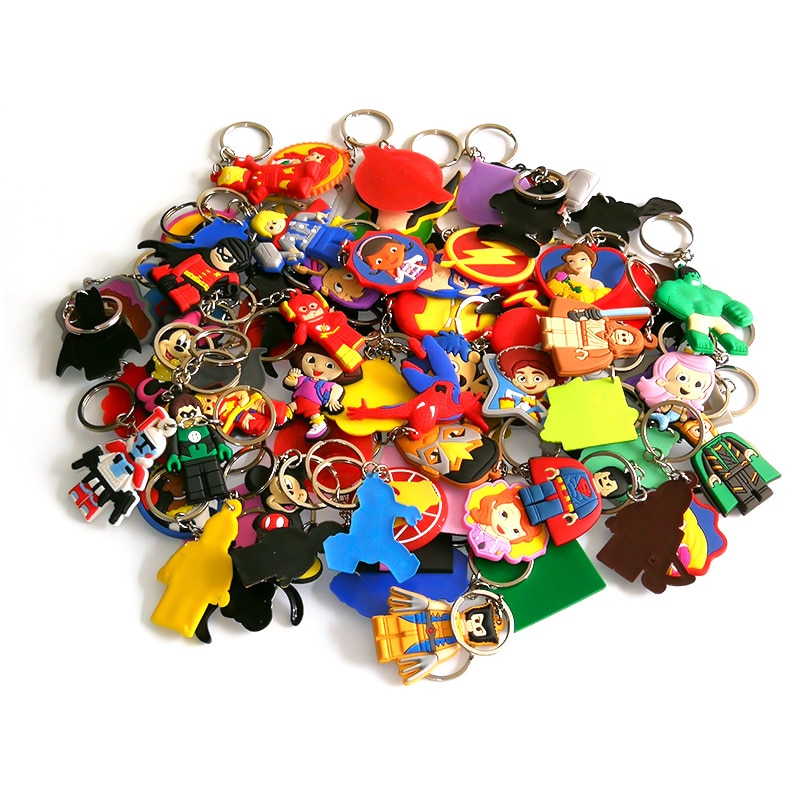 50pcs/lot Mix Style PVC Cartoon Key Chain Mickey Star Wars Marvel Avengers Key Ring Trinket Key Holder Send at Random