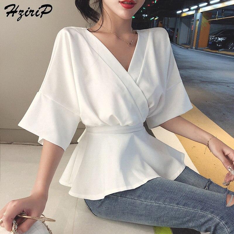 Hzirip Summer Hong Kong Style Loose Short-Sleeved Solid Female Sweet 2019 Waist-Controlled Chiffon Fresh Vintage Fashion Shirts