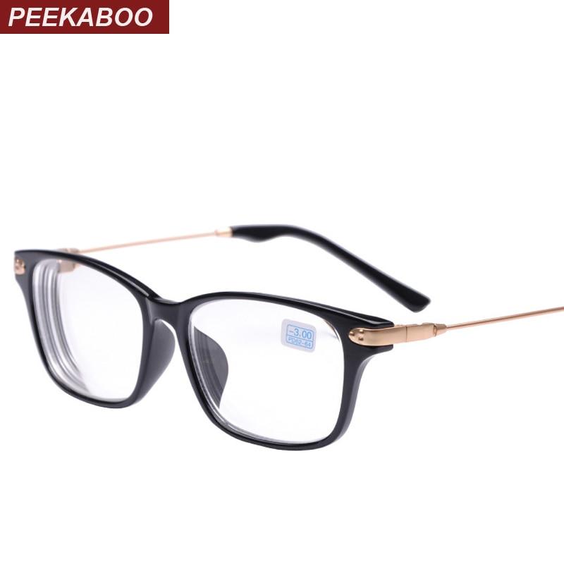 Peekaboo Neue marke hohe qualität billige brillen männer-2-1,5 rabatt myopie brille frauen minus schwarz