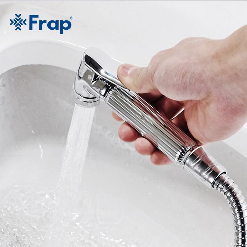 Frap Chrome Modern Style Hand held Bidet  Spray ABS Shower Head Spray Nozzle Press Button F24
