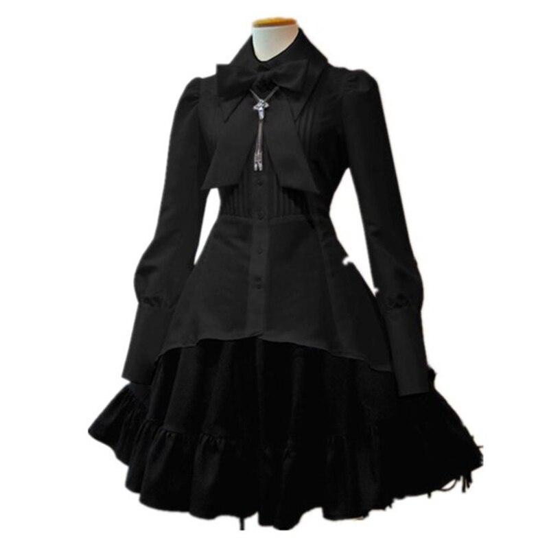 Летние Элегантные женские платья в стиле Лолиты, черные, вечерние, большие размеры, воротник с бантом, плиссированное, на шнурках, винтажное, белое, шикарное платье
