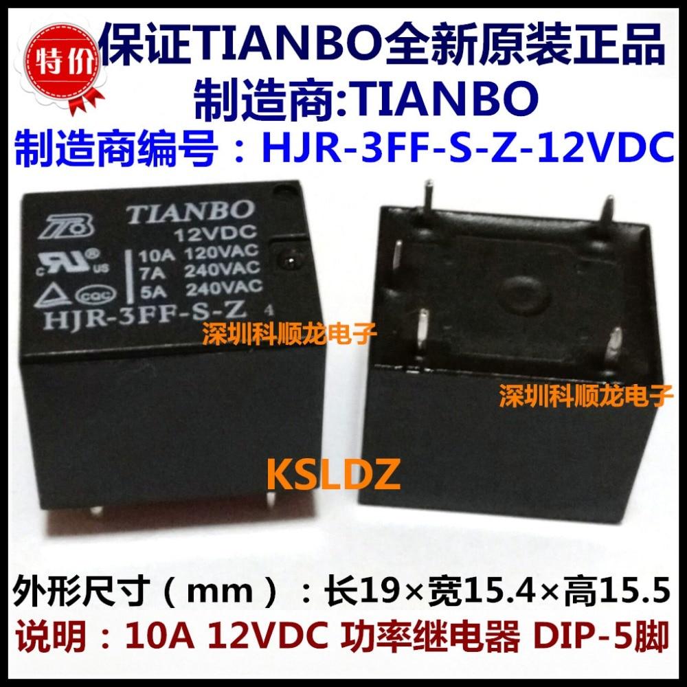 TIANBO HJR-3FF-S-Z-12VDC HJR-3FF-S-Z-12V HJR-3FF-S-Z-DC12V 10A 5 pines 12VDC relé de potencia original nuevo