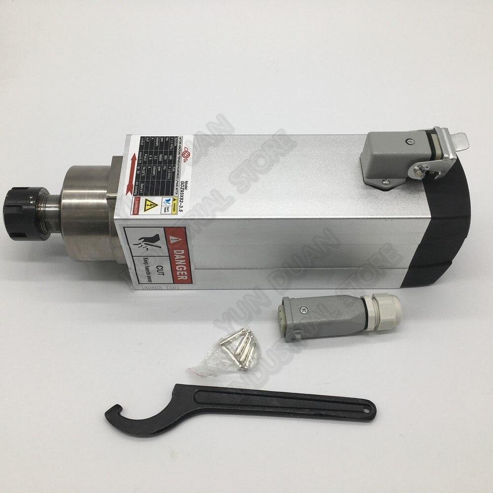 Changsheng 380V 3.5KW ER25 1-16mm 3PH AC Motor del husillo 2Poli refrigerado por aire CNC máquina de grabado de publicidad enrutador de madera