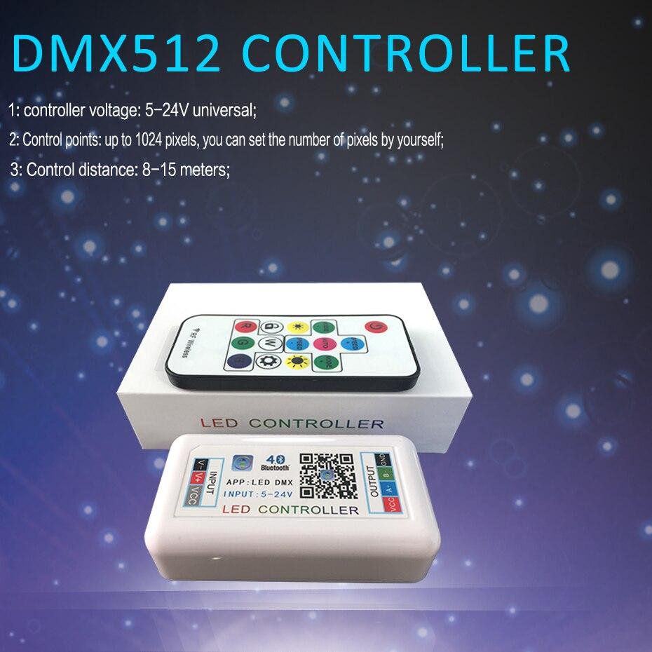 4 Channel DMX512 LED Controller For LED Strip 5050 Bluetooth APP RGB Controller DC 5V 12V 24V Music Controller For Led Light 4CH