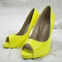 women stiletto thin high heel pumps sexy peep toe fluorescence yellow patent party ball bridals lady shoes t1