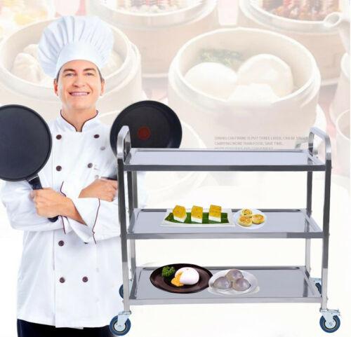 Kitchen Trolley Cart Three-layer Dining Shelf Rack with Wheels Storage Cart