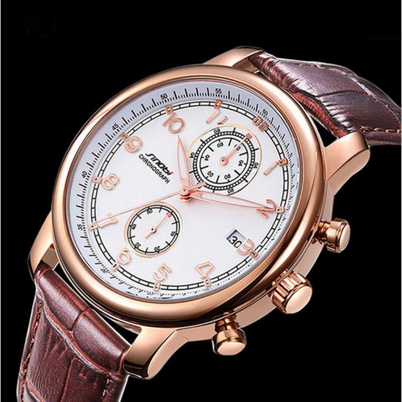 SINOBI Fashion Analog Quartz Watch Men Waterproof Sport Watches Leather Auto Date Wristwatch Hour montre homme relogio masculino