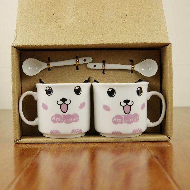 Juego de tazas, tazas de cerámica, tazas de café con cuchara