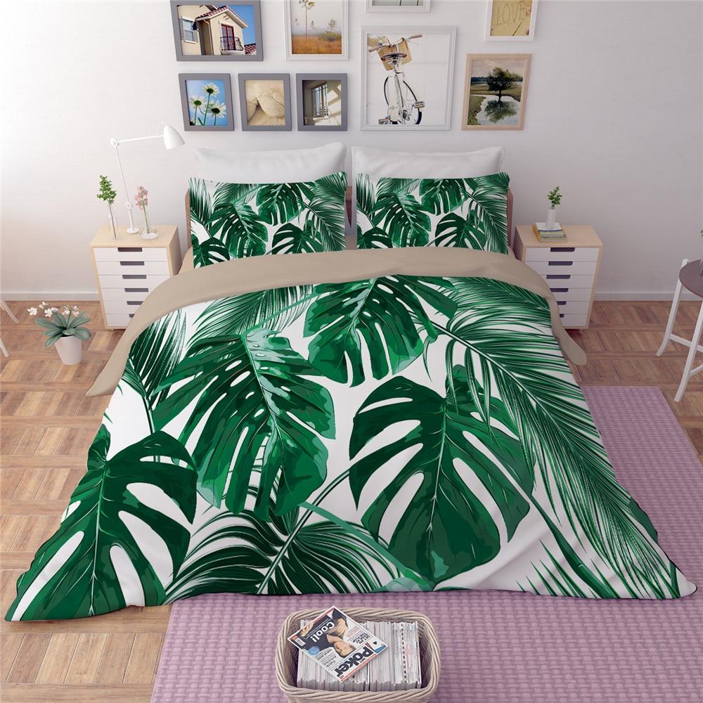 Juego de cama de hojas verdes blancas tamaño doble reina rey edredón/funda de edredón/colcha sábana de cama funda de almohada nueva ropa de cama de moda