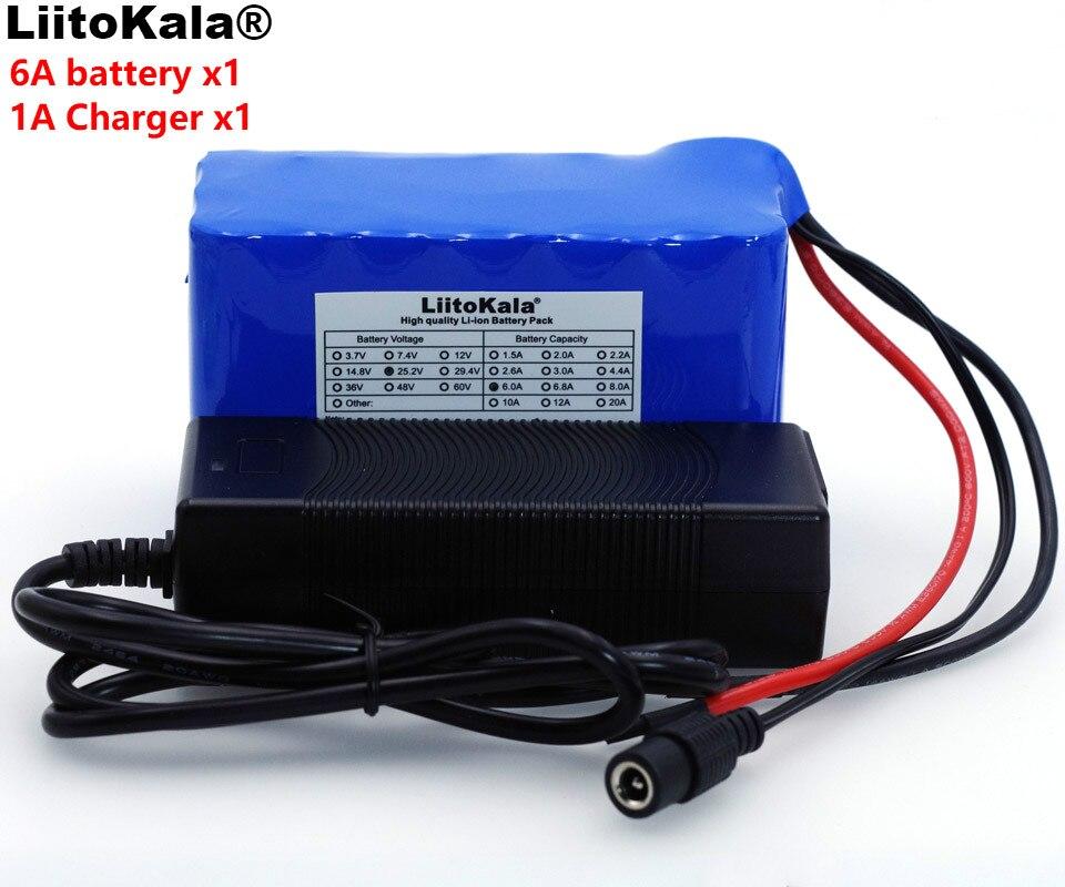 LiitoKala 24V 6Ah 6S3P 18650 batería de litio 25,2 v bicicleta eléctrica, ciclomotor/eléctrico/Paquete de batería de iones de litio + 1A cargador