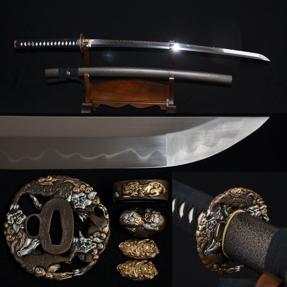 Espada samurái japonesa templada de arcilla forjada a mano tradicional KATANA hoja completa Tang 1095 acero de alto carbono Real Hamon personalizado