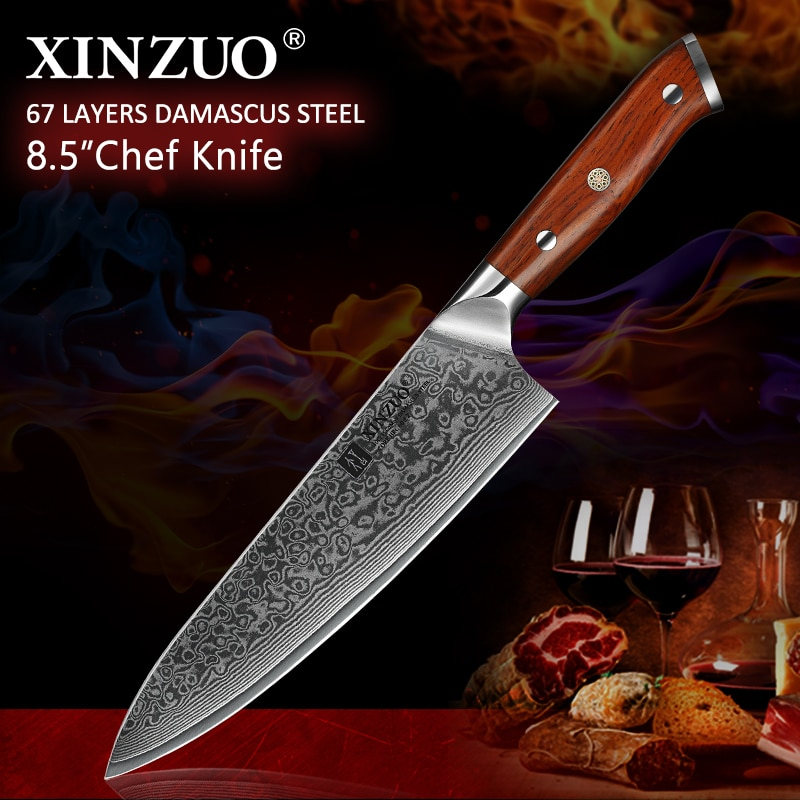 Ножи шеф-повара XINZUO, 8,5 дюймов, высокоуглеродные VG10, японский 67 слойный дамасский кухонный нож из нержавеющей стали, нож Gyuto с ручкой из розов...