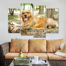 Toile de décor dimages murales   Cadre 4 pièces de peinture de chien avec lunettes pour salon, affiche danimaux imprimée HD modulaire