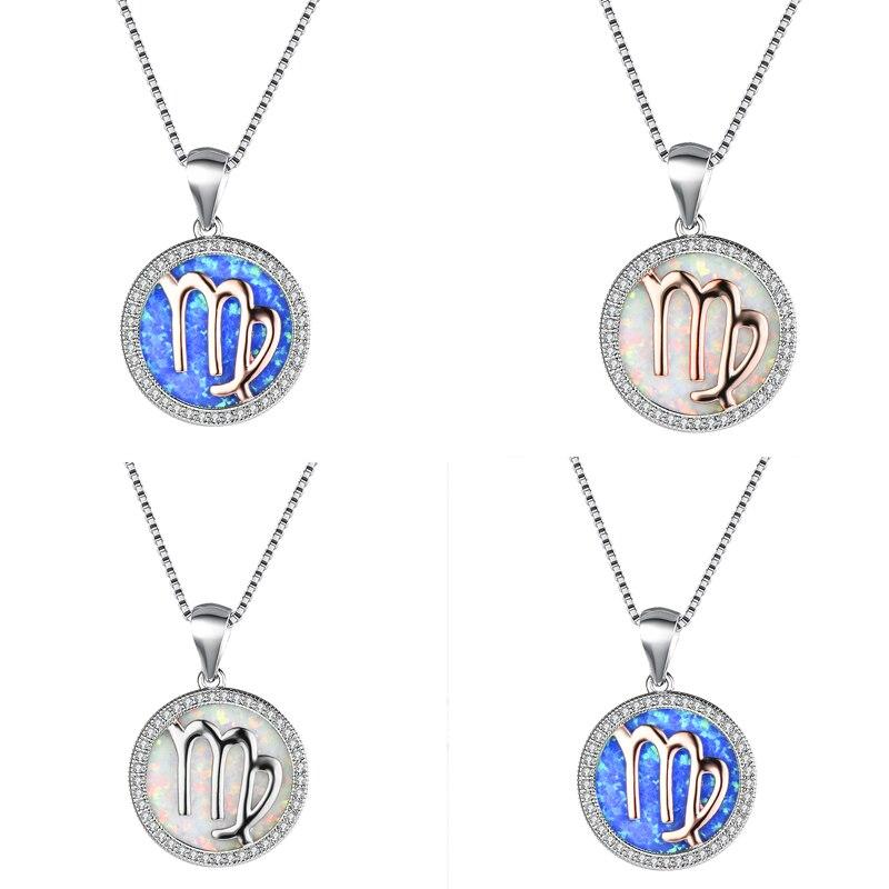 Boho femelle blanc bleu opale pierre pendentifs colliers grand argent couleur colliers pour les femmes mignon mode vierge bijoux