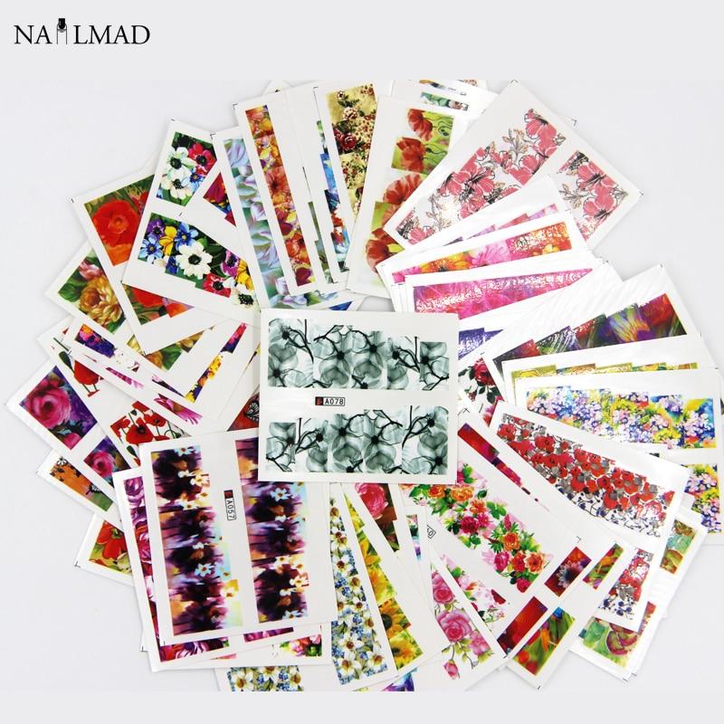 100 unids Tatuajes de Agua Nail Art Sticker Conjuntos Mixtos Flor Completo para Polaco Gem Nail Art Calcomanías de Agua de Diapositivas Etiqueta