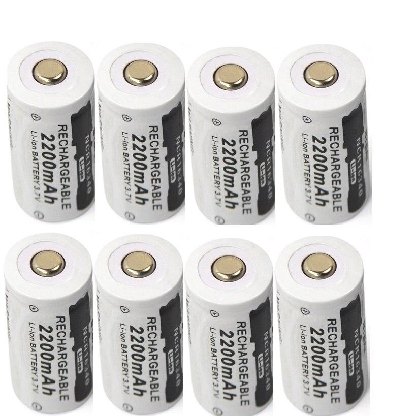 8 шт./лот 3,7 v 2200mAh CR123A Аккумуляторная Литиевая Батарея 16340 батарея