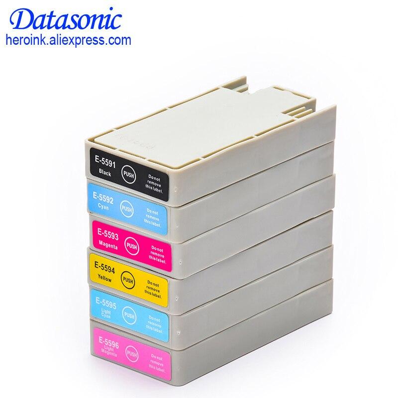 6 colores T5591 T5592 T5593 T5594 T5595 T5596 cartucho de tinta lleno Compatible con Epson Stylus Photo RX700 impresora