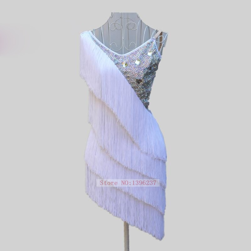 Latin Dance Dresses Women Top Quality Stage Tassel Rumba Sumba Game Skirt Customized Adult White Fringe Latin Dancing Dress