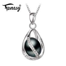 FENASY Förderung Schwarz Perle Anhänger trendy neue perle halskette & anhänger büro karriere halskette für frauen perle schmuck