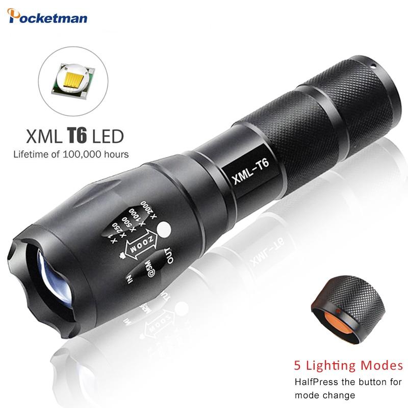 E17 XM-L T6 5000LM Alumínio À Prova D Água Zoomable Luz LED Lanterna Tocha Para 18650 Bateria Recarregável Ou PILHAS AAA