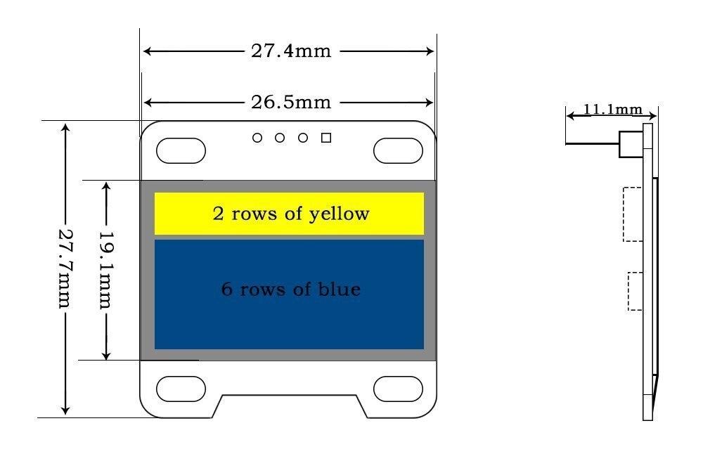 0,96 pulgadas módulo Oled 12864x128x64, amarillo azul Ssd1306 conductor I2c serie auto-luminoso pantalla para Arduino Raspberry Pi