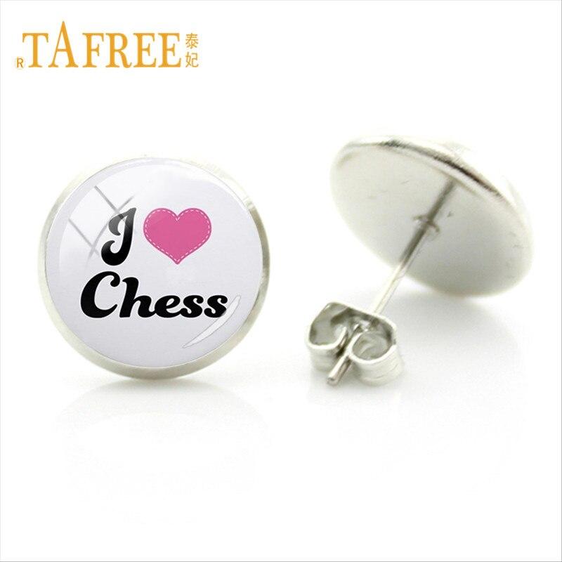 TAFREE Vintage I Love Chess Stud pendientes internacionales amantes del ajedrez para Mujeres Hombres fiesta pendientes y joyas para boda Regalos CH53