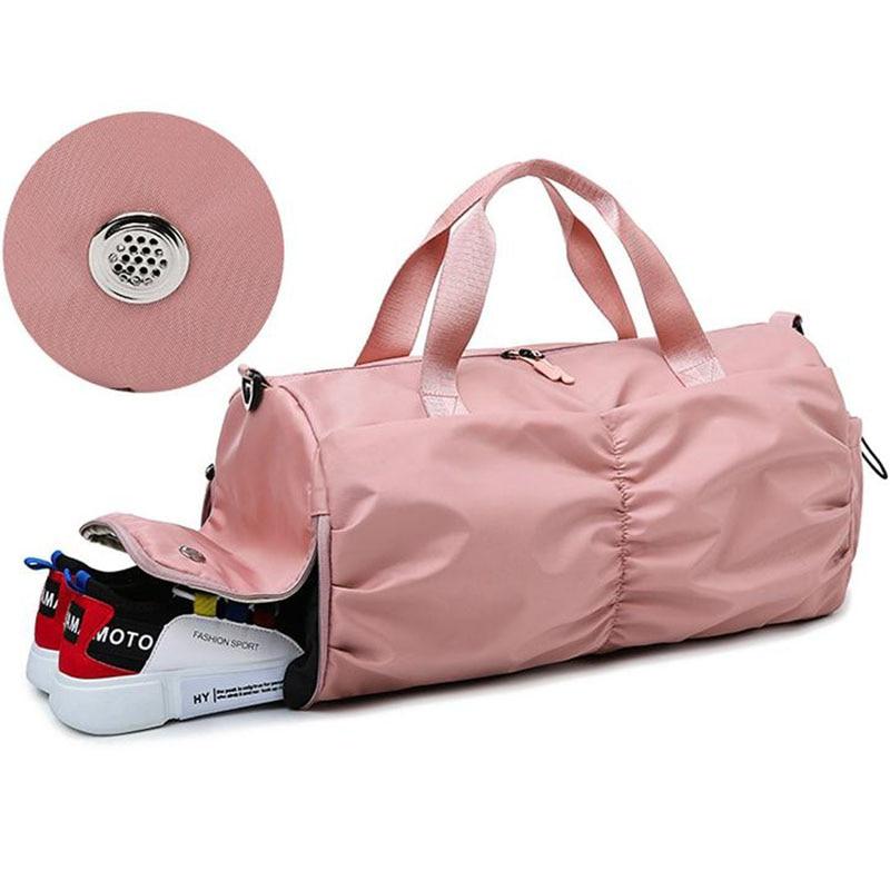 Bolsas rosas de Yoga para mujer con bolsillo seco, bolsa de gimnasio deportiva para hombre con compartimiento para zapatos, bolsa impermeable Oxford para piscina