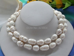 2ROW 14MM WHITE RICE FRESHWATER CULTURED PEARL NECKLACE