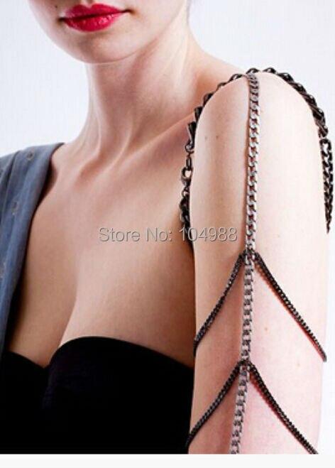 B369 frete grátis banhado a prata e cinza braço braço cadeia multi-camadas CHAINS corpo jóias