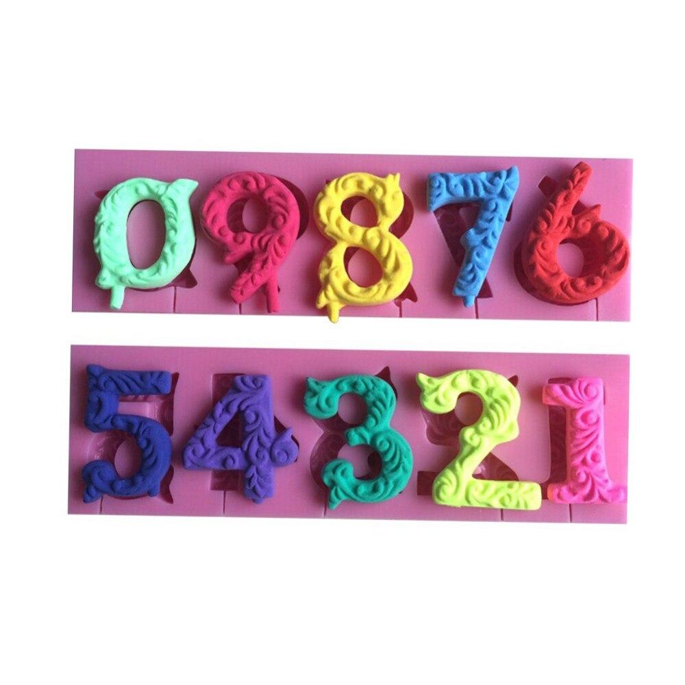 Alfabeto número 0-9 3D molde de silicona para pastel molde para paletas con forma de número con agujero de piruleta Fondant herramienta de decoración de pasteles