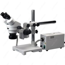 Stereo Boom Microscope--AmScope Supplies 7X-45X Stereo Zoom Boom Microscope + Fiber Optic Ring Light