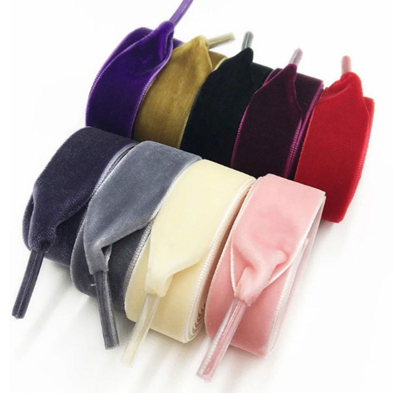 1Pair 1.6cm High Quality Velvet Flat Shoelaces for Women Shoes Sport Boots Multicolor Colorful Shoe Laces Strings Rope