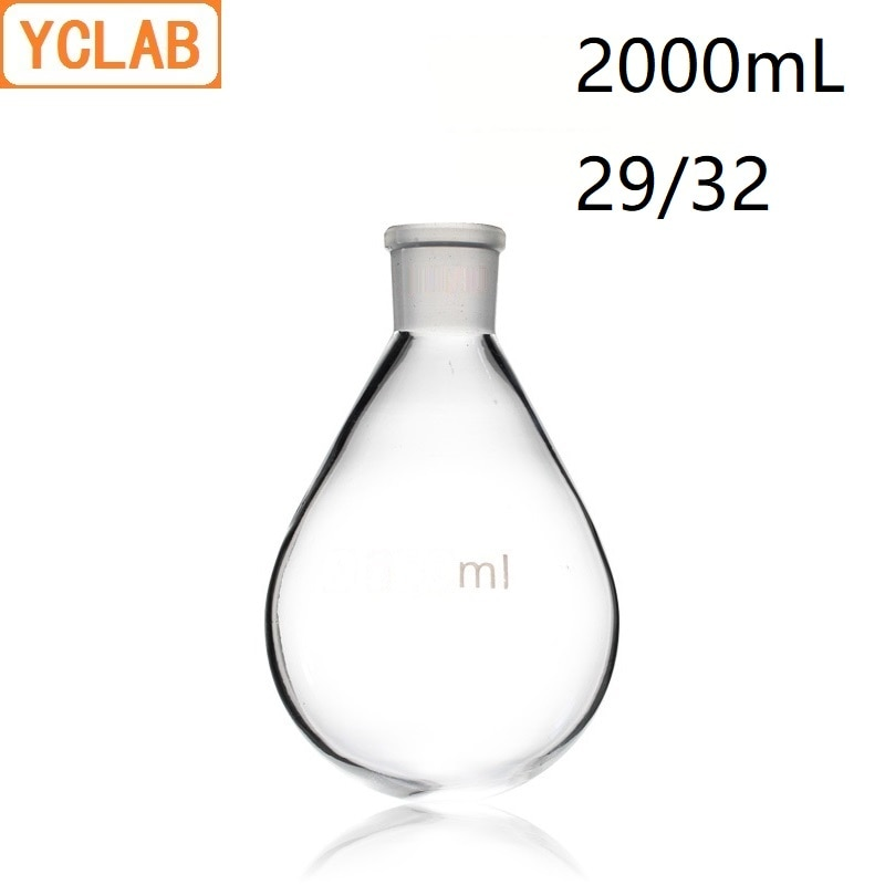 YCLAB 2000 мл 29/32 фляга форма баклажаны 2л боросиликатное стекло 3,3 стандарт заземления рот дистилляции круглое дно