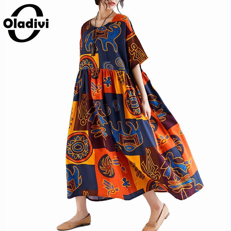 Oladivi ropa de gran tamaño para mujer de talla grande Casual algodón Lino estampado Maxi vestido largo señora verano vestidos bohemios túnica 8XL