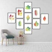 Affiche dart mural de decoration de maison  toile imprimee de peinture en aerosol  mode nordique  feuilles colorees dautomne  feuilles derable