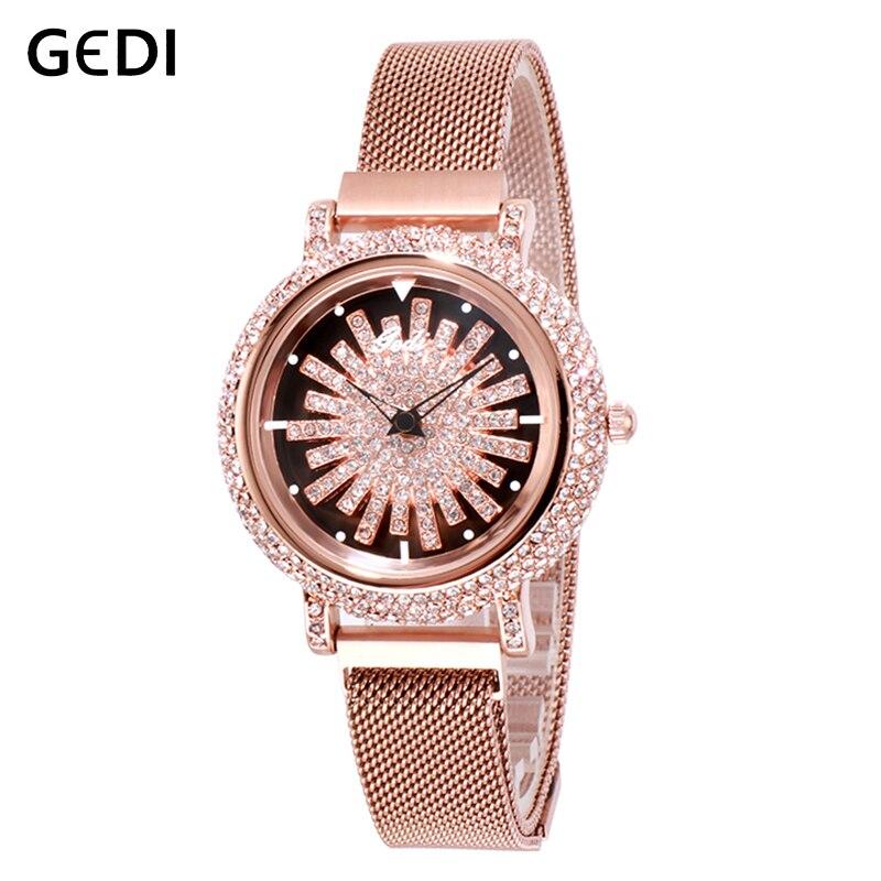 GEDI giratorio Dial de lujo, relojes de las mujeres de parte superior de la señora reloj relojes para mujeres imán Correa cuarzo de mujer de cuarzo reloj de pulsera nueva