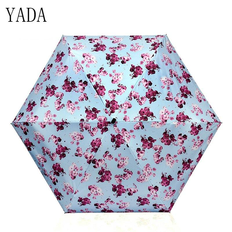 Guarda-chuva da Marca para Mulheres de Bolso de Alta Yada Mini Ultraleve Flor Padrão Cinco Folding Umbrella Chuva Mulheres Qualidade Chuvas Ys120