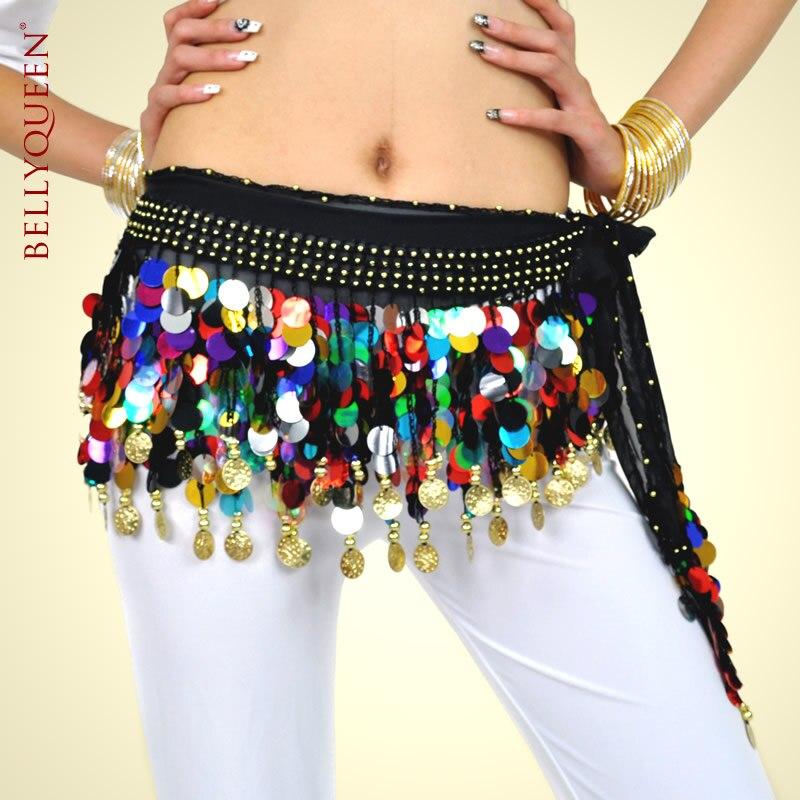Bellyqueen 88 moedas huazhung gonfalons mistura cor e cor sólida corrente do ventre paillette barriga dança cintura decoração cinto