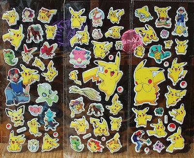 Lindo Anime pegatinas Pokemon monstruo de bolsillo Pikachu Scrapbooking pared etiqueta engomada de la hoja de bolsillo