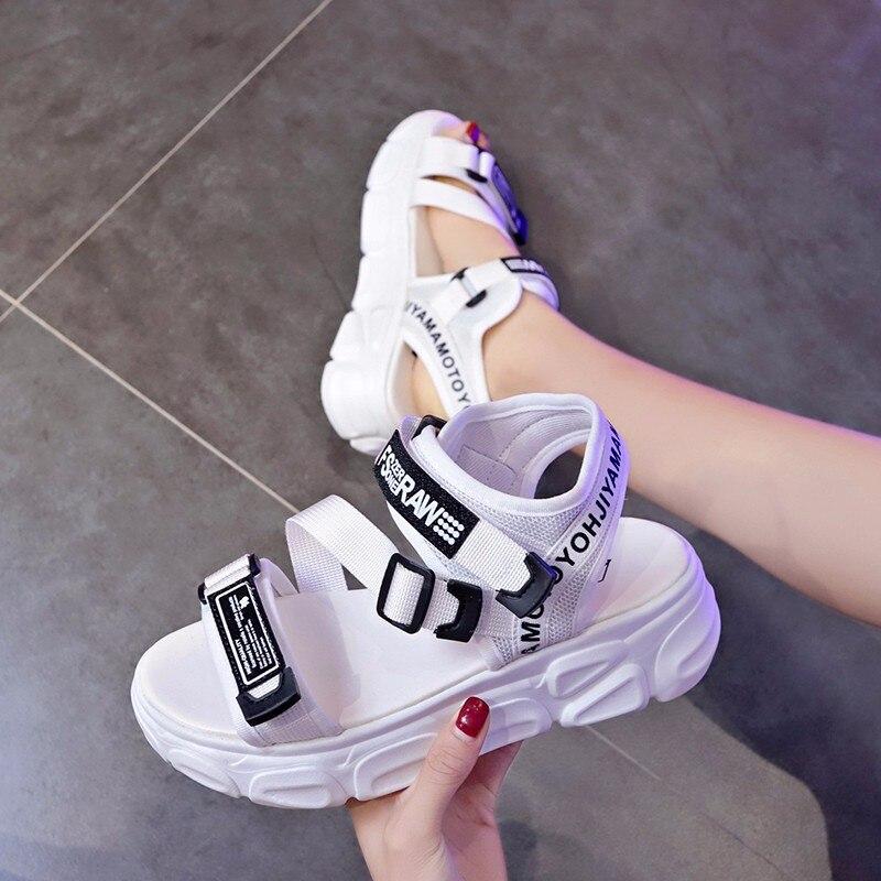 Mulheres ao ar livre sandálias esportivas casuais sapatos moda aumento de altura sandálias femininas senhoras plataforma de couro do plutônio sapatos casuais 35-39