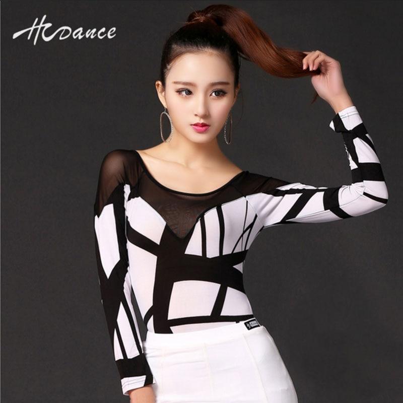 2016 New Summer Latin Polyester Silk Long Sleeve Dance Dresses Women Salsa Rumba Cha Costume &white Top Dress Hot Sale A141