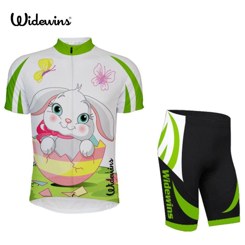 Nuevo precioso jersey de ciclismo para equipo de conejo, ropa de ciclismo para niños, ropa de ciclismo de manga corta blanca y verde 5839