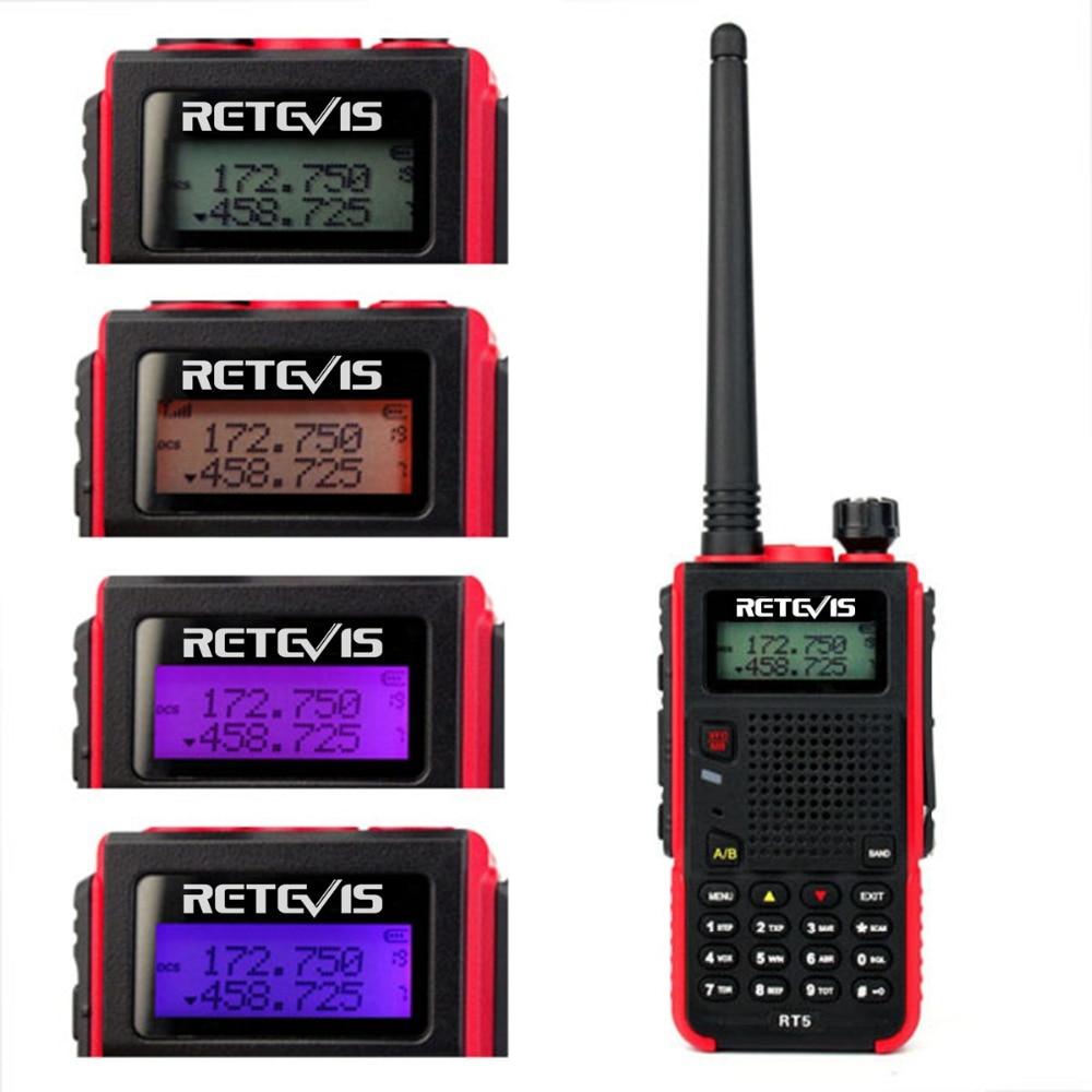 Walkie Talkie de mano 7W Retevis RT5 128CH doble banda VHF UHF 136-174 y 400-520MHz VOX jamón transceptor de Radio