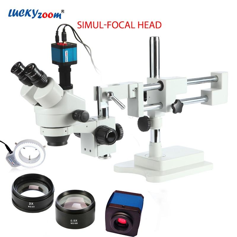 Luckyzoom 3,5 X-90X Simul-Brenn Doppel Boom Stand Trinocular Stereo Zoom Mikroskop 14MP HDMI Kamera 144pc Ring Licht microscopio