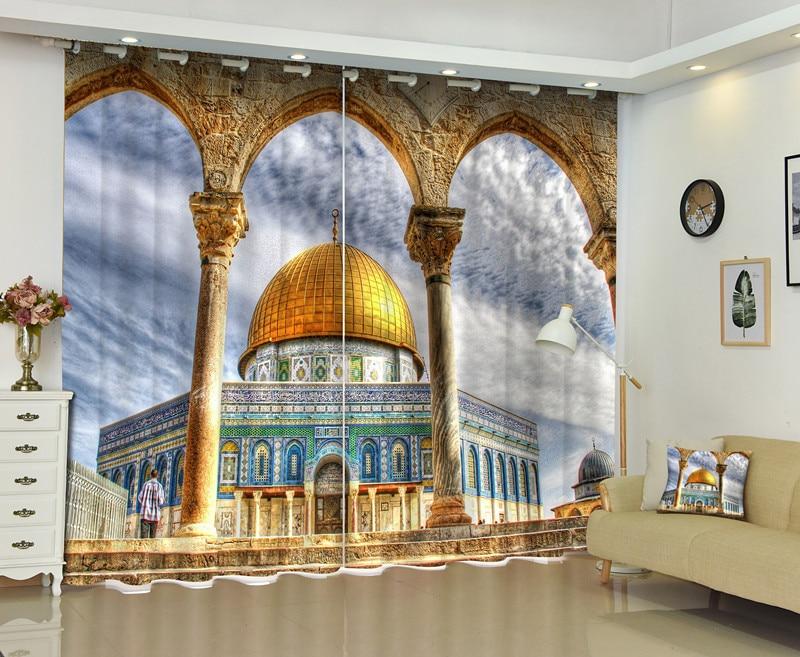 3D arquitectura de Oriente Medio cortina de ventana para sala de estar