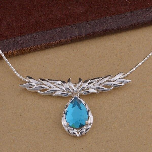 Venta al por mayor, joyería de moda plateada, cadena, collar, colgante, WN-1451